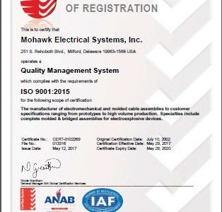 Mohawk Electrical Systems, Inc. is now ISO 9001:2015 certified